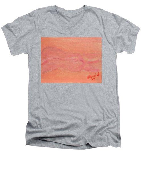 Pink Nude On Orange Men's V-Neck T-Shirt