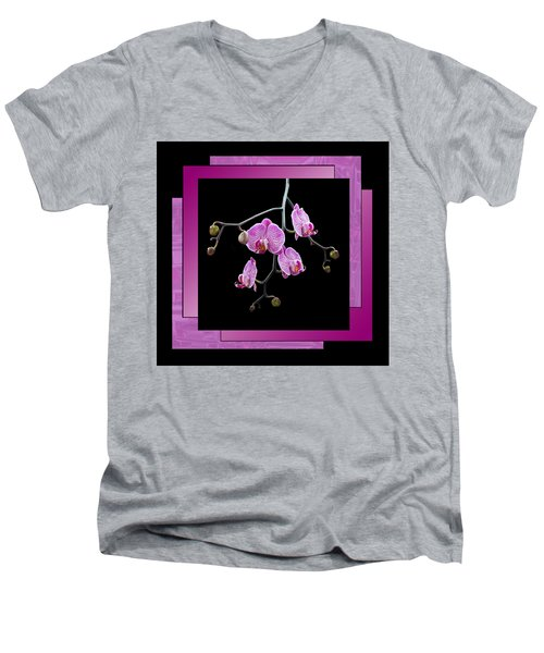 Men's V-Neck T-Shirt featuring the photograph Framed Orchid Spray by Patti Deters
