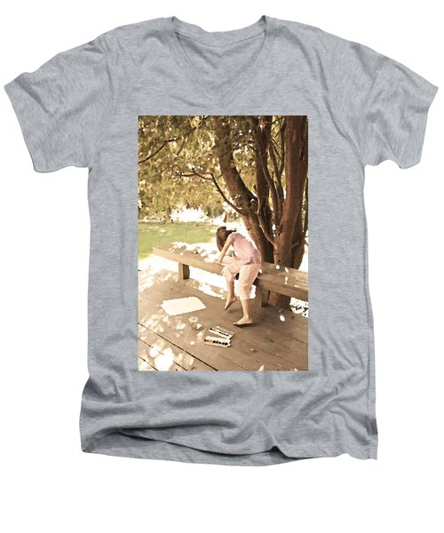 Men's V-Neck T-Shirt featuring the photograph Pink Painter by Brooke T Ryan