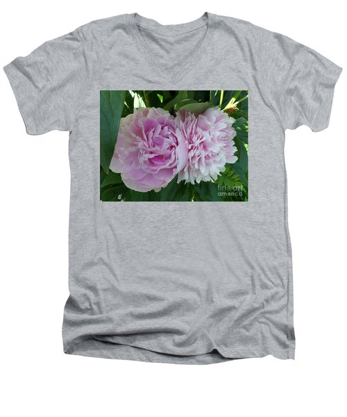 Pink Peonies 2 Men's V-Neck T-Shirt by HEVi FineArt
