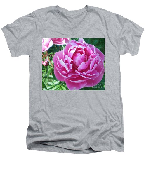 Pink Peony Men's V-Neck T-Shirt by Barbara Griffin