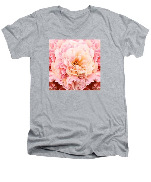 Pink Peony Men's V-Neck T-Shirt by Michele Avanti