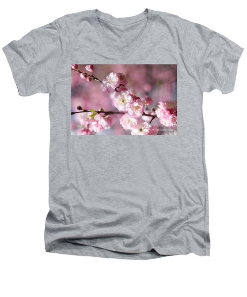 Pink Plum Branch 1 Men's V-Neck T-Shirt