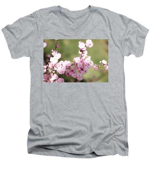 Pink Plum Branch On Green 2 Men's V-Neck T-Shirt