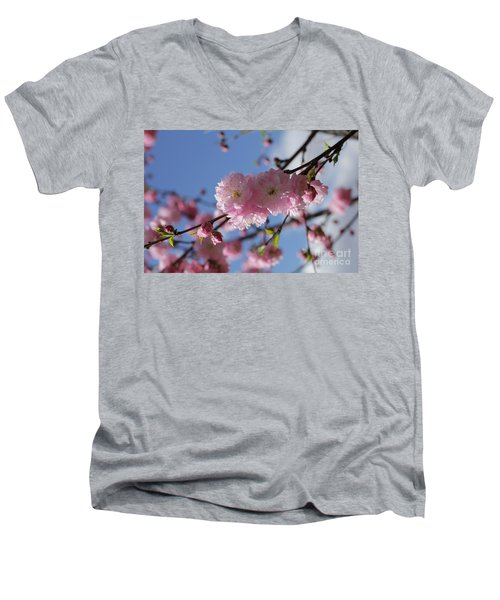 Pink Plum On Sky 2 Men's V-Neck T-Shirt