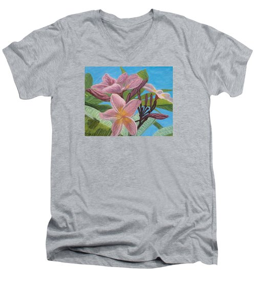 Pink Plumeria Men's V-Neck T-Shirt