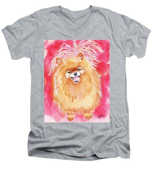 Pink Pom Men's V-Neck T-Shirt