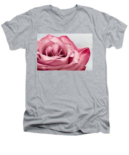 Pink Rose Macro Men's V-Neck T-Shirt