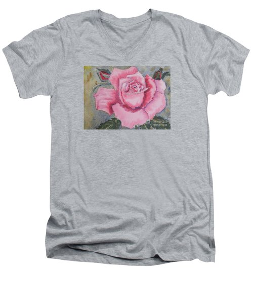 Pink Rose Men's V-Neck T-Shirt by Pamela  Meredith