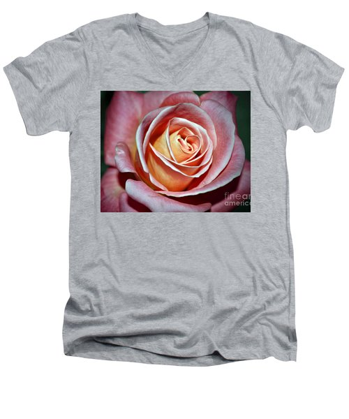 Men's V-Neck T-Shirt featuring the photograph Pink Rose by Savannah Gibbs