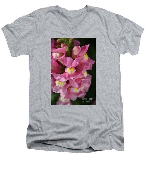 Pink Snapdragon Flowers Men's V-Neck T-Shirt