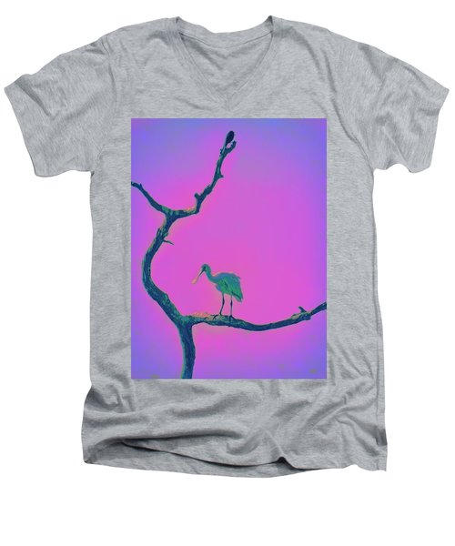 Men's V-Neck T-Shirt featuring the painting Pink Spoonbill by David Mckinney
