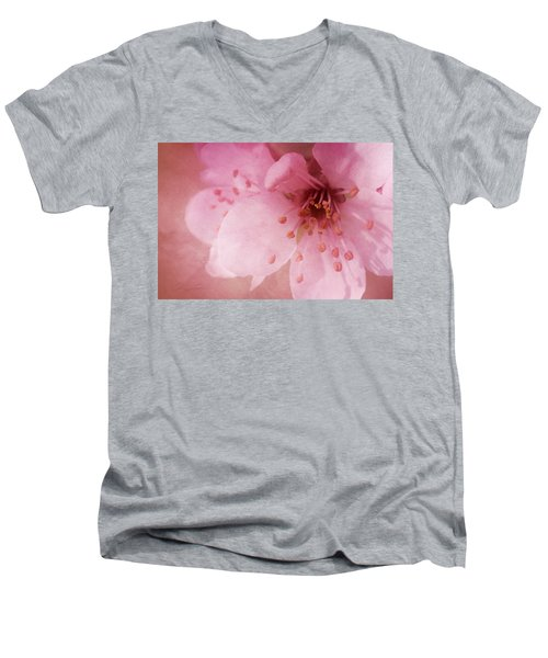Men's V-Neck T-Shirt featuring the photograph Pink Spring Blossom by Ann Lauwers