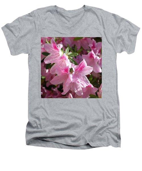 Pink Star Azaleas In Full Bloom Men's V-Neck T-Shirt by Connie Fox