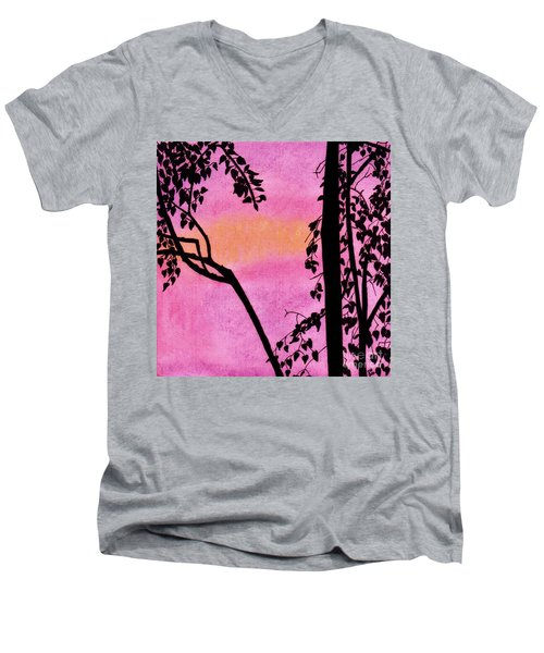 Men's V-Neck T-Shirt featuring the drawing Pink Sky Sunset by D Hackett
