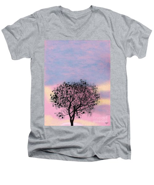 Men's V-Neck T-Shirt featuring the drawing Pink Sunset by D Hackett