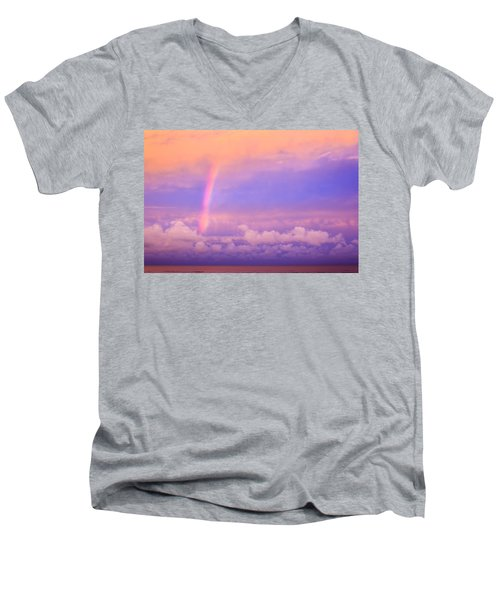 Men's V-Neck T-Shirt featuring the photograph Pink Sunset Rainbow by Peta Thames
