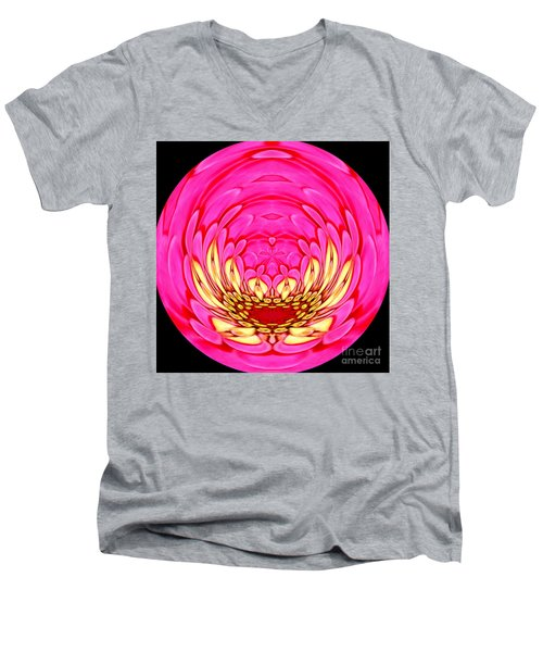 Men's V-Neck T-Shirt featuring the photograph Pink Zinnia Polar Coordinate 2 by Rose Santuci-Sofranko