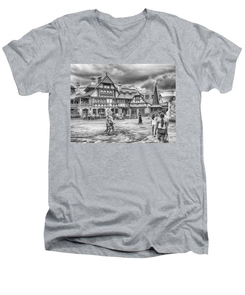 Men's V-Neck T-Shirt featuring the photograph Pinocchio's Village Haus by Howard Salmon