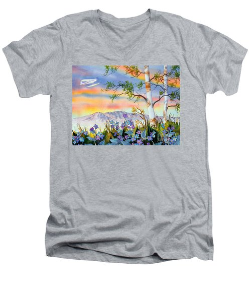 Men's V-Neck T-Shirt featuring the painting Piper Cub Over Sleeping Lady by Teresa Ascone