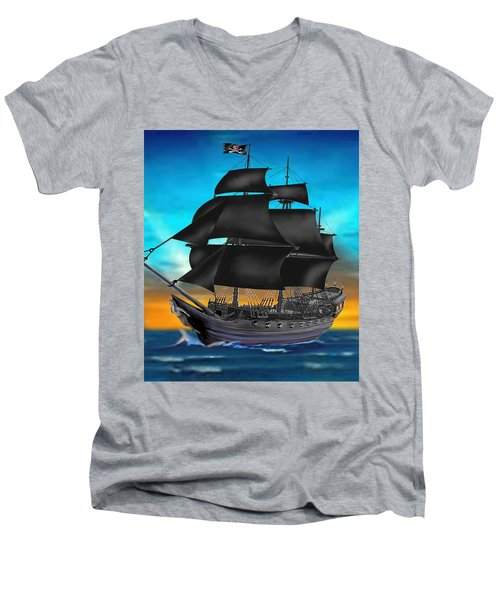 Pirate Ship At Sunset Men's V-Neck T-Shirt