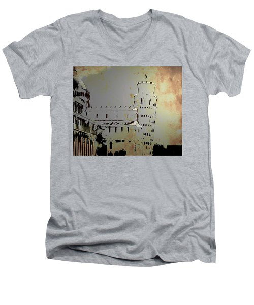 Men's V-Neck T-Shirt featuring the digital art Pisa Italy 1 by Brian Reaves