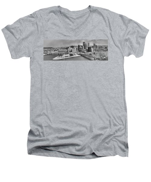 Pittsburgh Black And White Winter Panorama Men's V-Neck T-Shirt