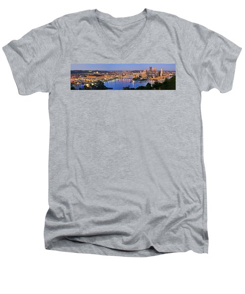Pittsburgh Pennsylvania Skyline At Dusk Sunset Extra Wide Panorama Men's V-Neck T-Shirt by Jon Holiday