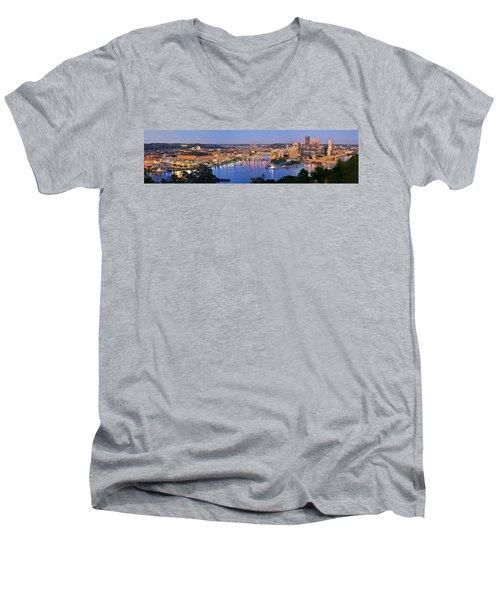Pittsburgh Pennsylvania Skyline At Dusk Sunset Extra Wide Panorama Men's V-Neck T-Shirt
