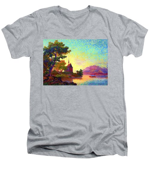Men's V-Neck T-Shirt featuring the painting Beautiful Church, Place Of Welcome by Jane Small