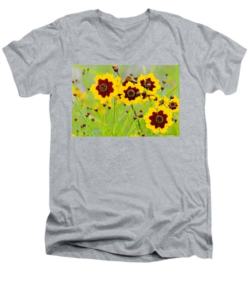 Plains Coreopsis Men's V-Neck T-Shirt by Walter Herrit