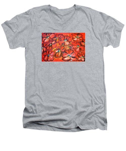 Men's V-Neck T-Shirt featuring the painting Plaisir Rouge by Ramona Matei