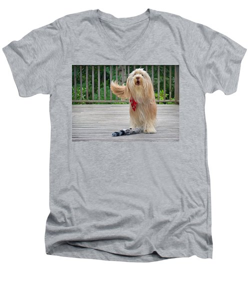 Play With Me Men's V-Neck T-Shirt by Keith Armstrong