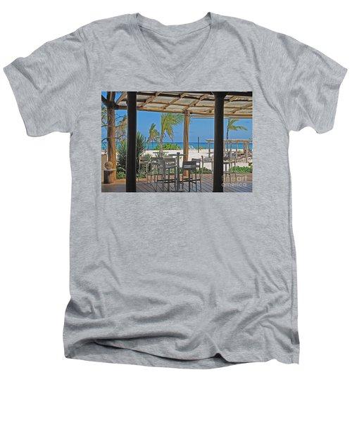 Playa Blanca Restaurant Bar Area Punta Cana Dominican Republic Men's V-Neck T-Shirt by Heather Kirk