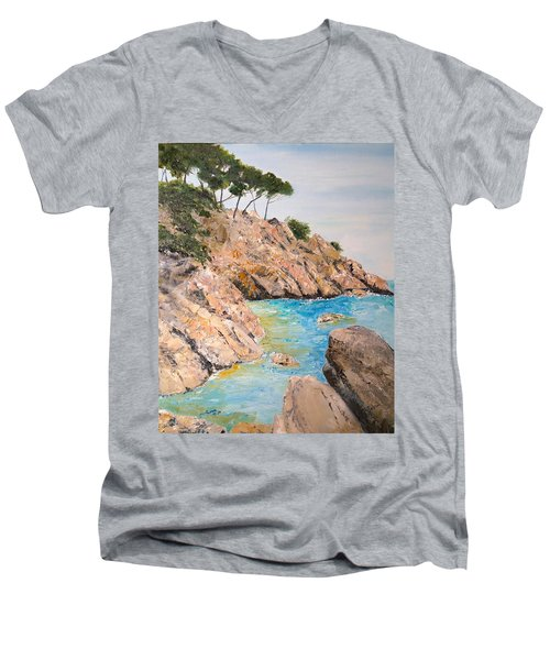 Men's V-Neck T-Shirt featuring the painting Playa De Aro by Marilyn Zalatan
