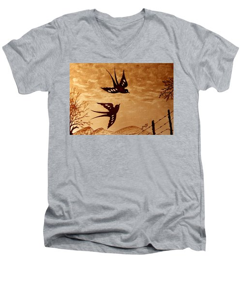 Men's V-Neck T-Shirt featuring the painting Playful Swallows Original Coffee Painting by Georgeta  Blanaru