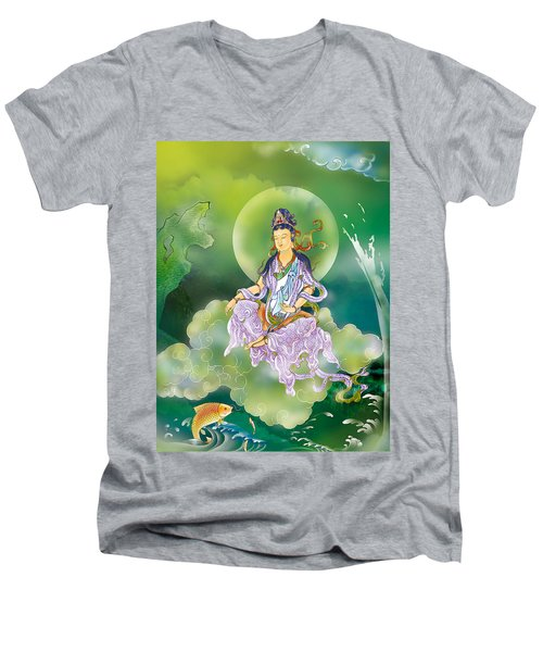 Playing Avalokitesvara   Men's V-Neck T-Shirt by Lanjee Chee