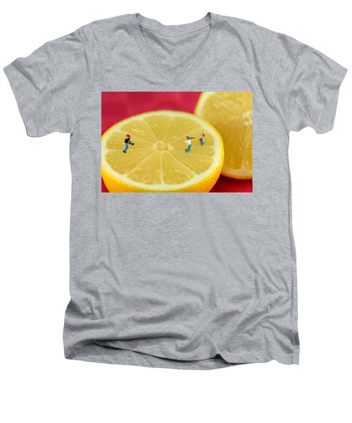 Playing Baseball On Lemon Men's V-Neck T-Shirt