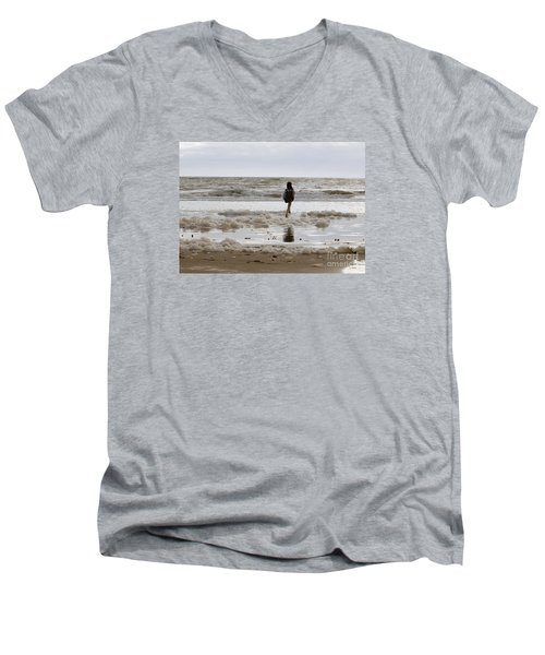 Men's V-Neck T-Shirt featuring the photograph Girl Playing In Sea Foam by Haleh Mahbod