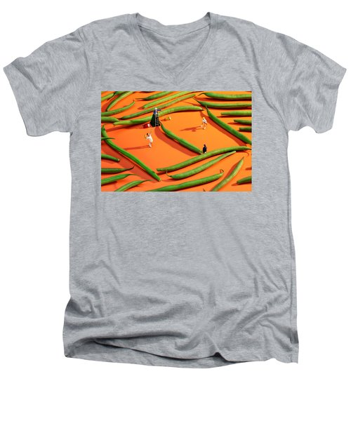 Playing Tennis Among French Beans Little People On Food Men's V-Neck T-Shirt