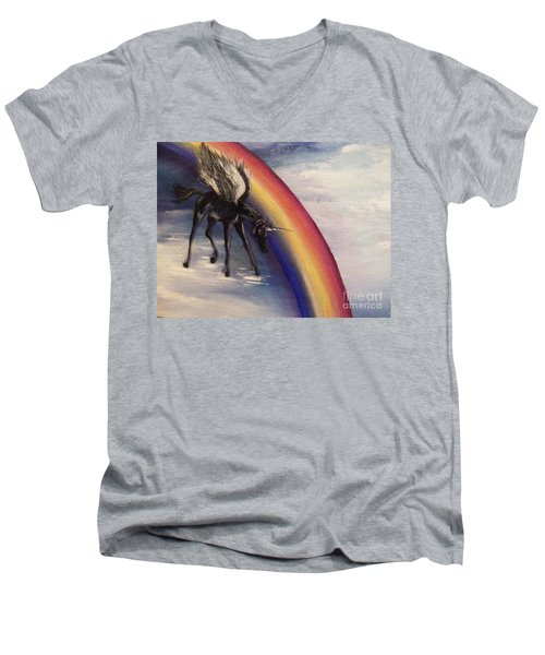 Playing With Rainbow Men's V-Neck T-Shirt