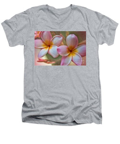 Plumeria Pair Men's V-Neck T-Shirt by Peggy Hughes