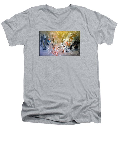 Men's V-Neck T-Shirt featuring the painting Poetry by Lisa Kaiser