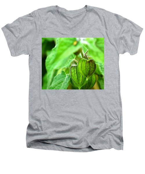 Men's V-Neck T-Shirt featuring the photograph Poha Berry Lanterns by Lehua Pekelo-Stearns