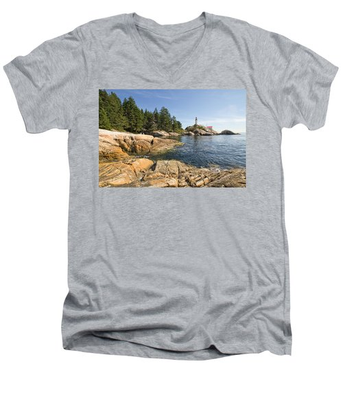 Men's V-Neck T-Shirt featuring the photograph Point Atkinson Lighthouse In Vancouver Bc by JPLDesigns
