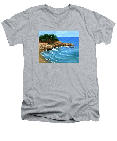 Point Lobos Coast Men's V-Neck T-Shirt by Alice Leggett