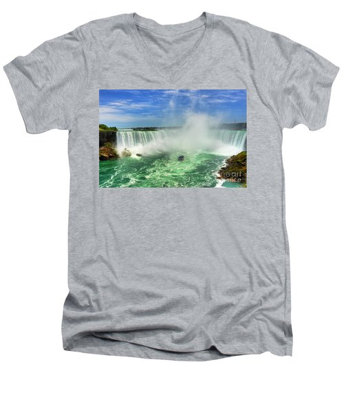 Point Of Land Cut In Two.. Men's V-Neck T-Shirt