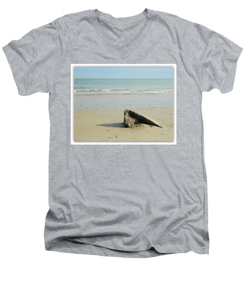 Pointed Rock At Squibby Men's V-Neck T-Shirt by Kathy Barney