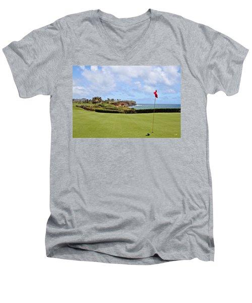 Poipu Bay #16 Men's V-Neck T-Shirt by Scott Pellegrin