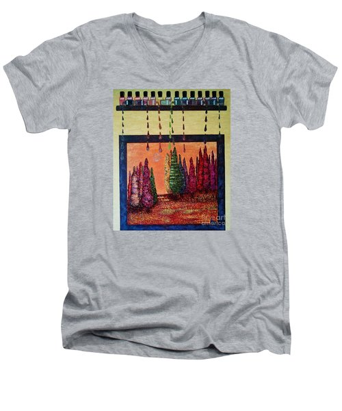 Men's V-Neck T-Shirt featuring the painting Polished Forest by Jasna Gopic